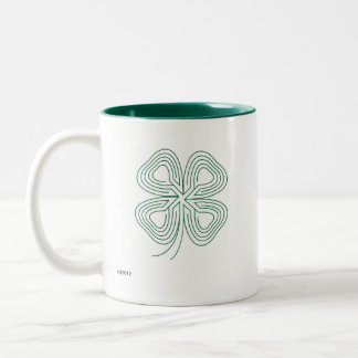 Lucky Labyrinth Four Leaf Clover GreenMug Blessing Two-Tone Coffee Mug