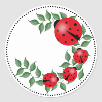 Lucky Lady Bug Family Classic Round Sticker