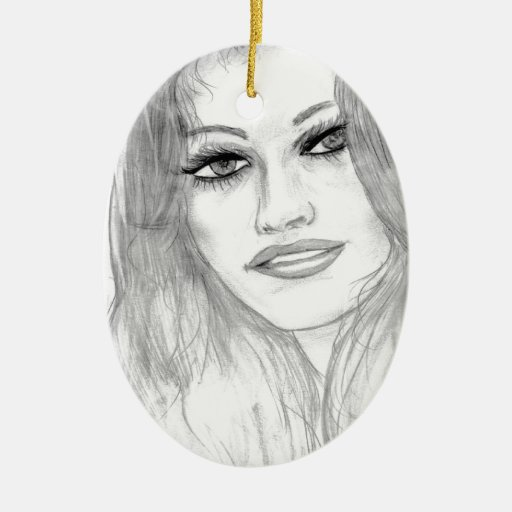 Lucky Lady Double-Sided Oval Ceramic Christmas Ornament