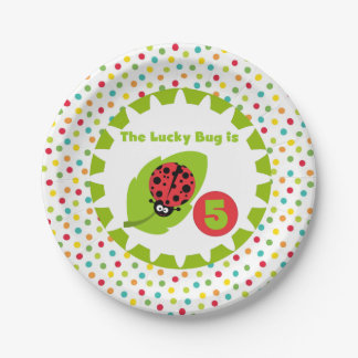 Lucky Ladybug 5th Birthday Paper Plates