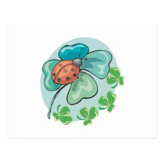 lucky ladybug and clovers design postcard