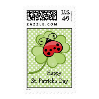 Lucky Ladybug Irish 4 Leaf Clover St Patrick's Day Stamp