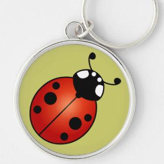 Lucky Ladybug Red Orange Black Ladybird Beetle Silver-Colored Round Keychain
