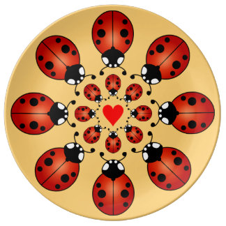 Lucky Ladybugs Sixteen Ladybirds Circles Heart Dinner Plate