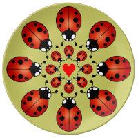 Lucky Ladybugs Sixteen Ladybirds Circles Heart  sc 1 st  Zazzle & Ladybug Plates   Zazzle