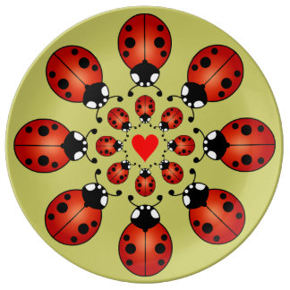 Lucky Ladybugs Sixteen Ladybirds Circles Heart Porcelain Plate