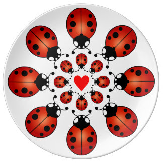 Lucky Ladybugs Two Circles of Ladybirds with Heart Plate