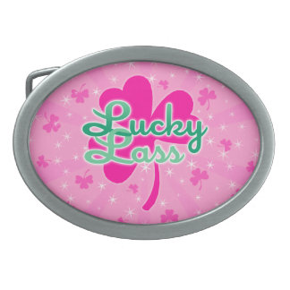 Lucky Lass - Pink Girly Shamrocks Belt Buckle