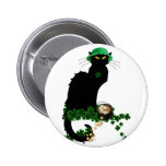 Lucky Le Chat Noir - St Patrick's Day 2 Inch Round Button