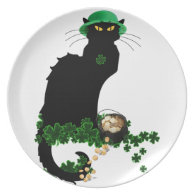Lucky Le Chat Noir - St Patrick's Day Dinner Plate