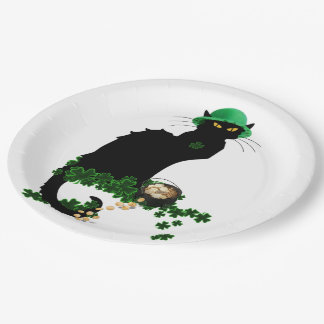 Lucky Le Chat Noir - St Patrick's Day Paper Plate