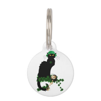 Lucky Le Chat Noir - St Patrick's Day Pet Name Tag