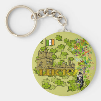 Lucky Leprechaun and His Irish Castle Key Chains