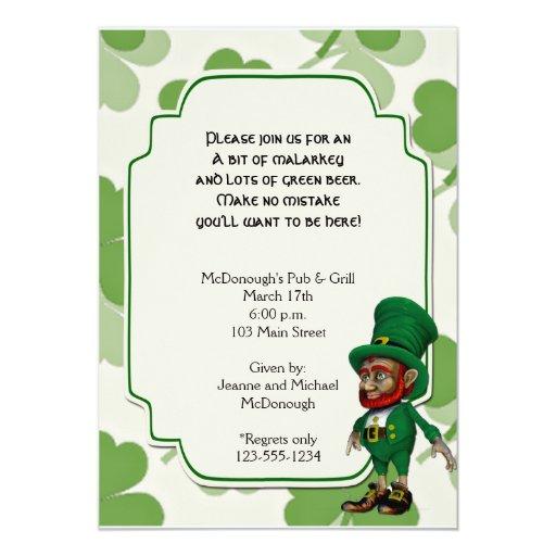 Lucky Leprechaun on Shamrocks Party Invitation