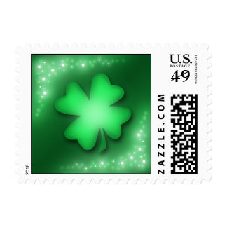 Lucky Lights - Green Shamrock Postage Stamps