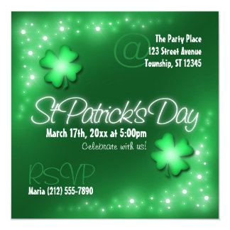 Lucky Lights - Green St Patrick's Day Invitations