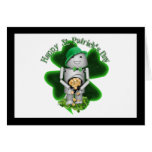Lucky Lil' Robo-x9 With Shamrock Greeting Card