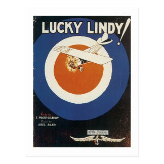 Lucky Lindy Vintage Songbook Cover Postcard