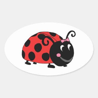 Lucky Little Ladybug Oval Sticker
