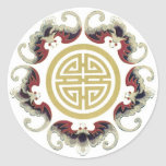 Lucky Longevity Chinese Charm Classic Round Sticker