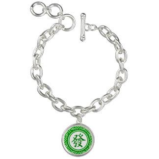Lucky Mahjong Symbol • Dark Green Charm Bracelets