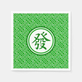 Lucky Mahjong Symbol • Dark Green Napkin