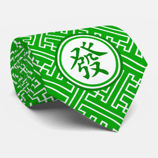 Lucky Mahjong Symbol • Dark Green Neck Tie