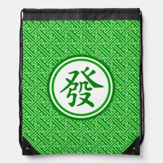 Lucky Mahjong Symbol • Dark Green Drawstring Bags