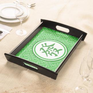Lucky Mahjong Symbol • Dark Green Serving Tray