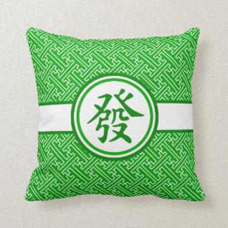 Lucky Mahjong Symbol • Dark Green Throw Pillow
