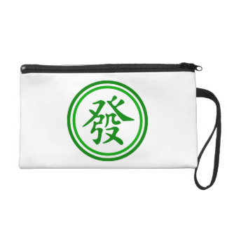 Lucky Mahjong Symbol • Green and White Wristlet Clutches