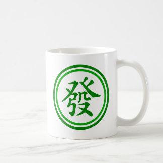 Lucky Mahjong Symbol • Green and White Coffee Mug