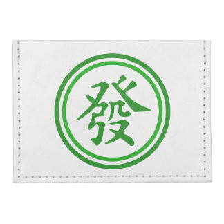 Lucky Mahjong Symbol • Green and White Tyvek® Card Wallet