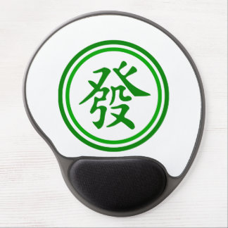 Lucky Mahjong Symbol • Green and White Gel Mouse Pad