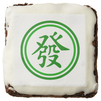 Lucky Mahjong Symbol • Green and White Square Brownie