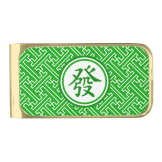 Lucky Mahjong Symbol Gold Finish Money Clip