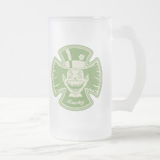 Lucky Maltese Leprechaun Frosted Glass Beer Mug