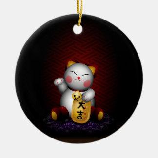 Lucky Maneki Neko Ceramic Ornament