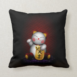 Lucky Maneki Neko Throw Pillows