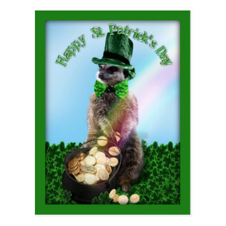Lucky Meerkat with Pot Of Gold St. Patrick's Day Postcard
