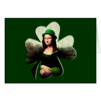 Lucky Mona Lisa Shamrock Card