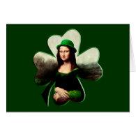 Lucky Mona Lisa Shamrock Greeting Card