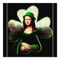 Lucky Mona Lisa Shamrock 5.25x5.25 Square Paper Invitation Card