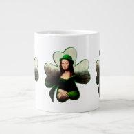 Lucky Mona Lisa Shamrock 20 Oz Large Ceramic Coffee Mug