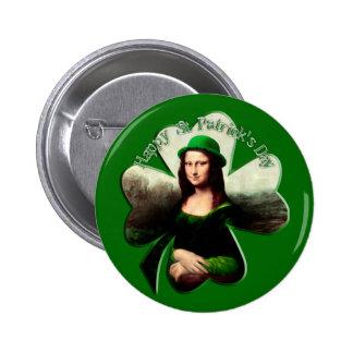 Lucky Mona Lisa St Patrick's Day Shamrock Pinback Button
