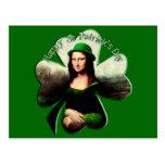 Lucky Mona Lisa St Patrick's Day Shamrock Post Cards