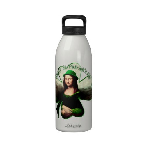 Lucky Mona Lisa St Patrick's Day Shamrock Drinking Bottle