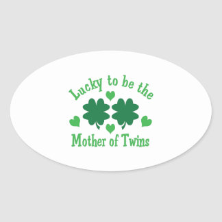 LUCKY MOTHER OF TWINS OVAL STICKERS