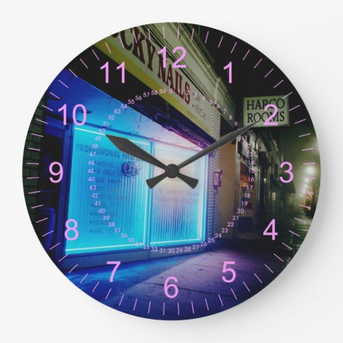 Lucky Nails - Cool Blue in the Night Large Clock