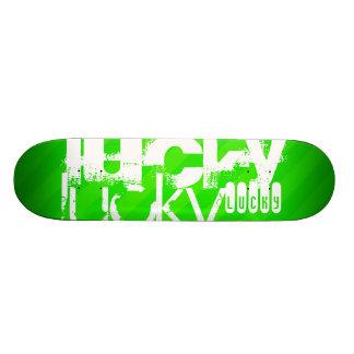 Lucky; Neon Green Stripes Skateboard Deck